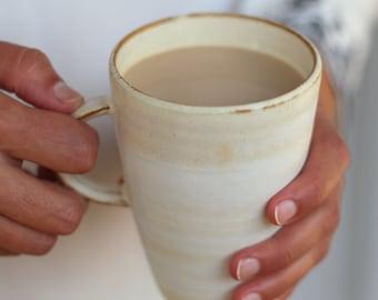 White Pottery Mug Ceramic Mug Pottery Coffee Mug Tall Coffee mug handmade coffee mug rustic coffee mug large tea cup pottery coffee mugs