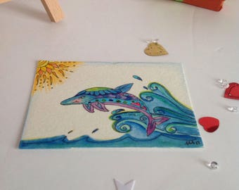 Dolphin ACEO Painting, Zen Doodle Dolphin Art, Cute Dolphin ATC, Mini Dolphin  illustration, Dolphin Painting, Dolphin  Illlustration
