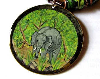 Elephant Necklace, Hand Painted Elephant Pendant, Rain Forest Elephant Pendant, Etched Gold Tone Metal Disc, Jungle Green Paper Barrel Beads