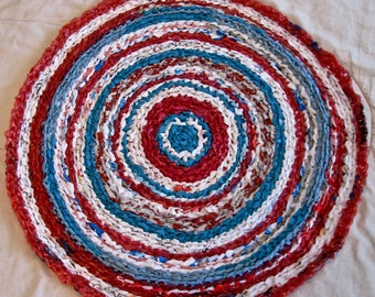 Recycled Turquoise and Red  crocheted plastic Designer rug, Upcycled Designer rug, Recycled Southwest Designer rug