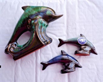 3 BLUE MOUNTAIN POTTERY Leaping Dolphins Nice drip glaze Cuties 1 Blue 2 Green