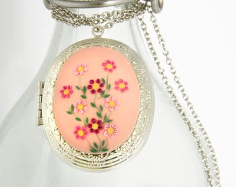 Personalized Necklace, Photo Locket, white flower, Gifts for Her, pink necklace, mothers day Gift for Wife, victorian, embroidered necklace