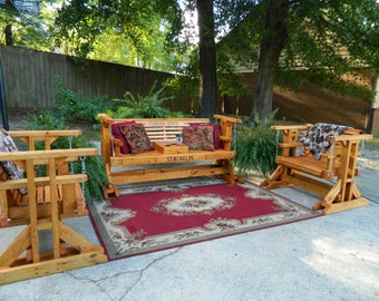 Patio Furniture Set Handmade Southern Style,Free Shipping,Outdoor Furniture,Patio Set,Conversation Set,Bench,Glider Swing,Patio Chairs,Swing