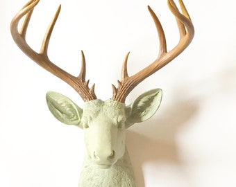 KHAKI GREEN, Natural-Looking Antlers, XL Deer Head, Faux Taxidermy Deer, Faux Taxidermy, Faux Animal Head, Stag Head, Stag Wall Mount decor