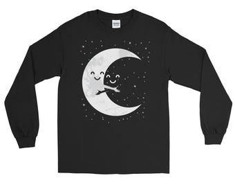 Earth and Moon Hug T-Shirt | Moon T-Shirt | Long Sleeve T-Shirt