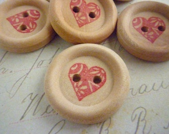 Wooden Buttons - 7/8 Inch Round - Stamped Heart Collection - Pack of 10