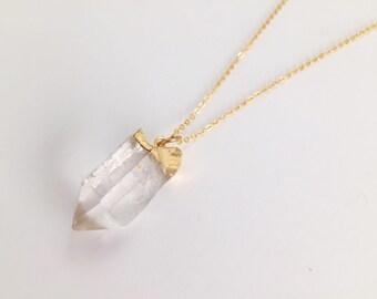 Rohen Quarz, Quarz Halskette, Kristall Halskette