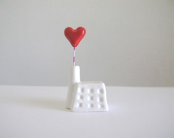 Heart Factory - little ceramic house sculpture