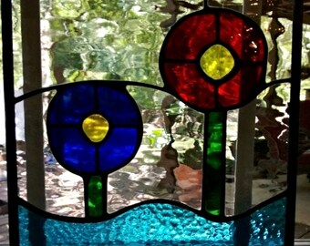 Stained Glass Simple Flowers Panel