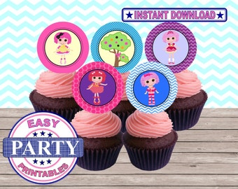 SALE Lalaloopsy Instant Download Cupcake toppers easily print from home, printable toppers, instant download, sale, colorful party, girls
