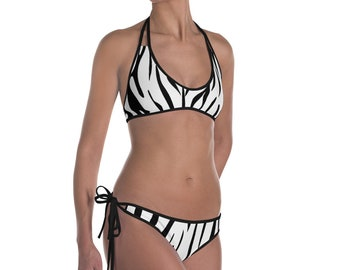 Zebra White and Black Bikini