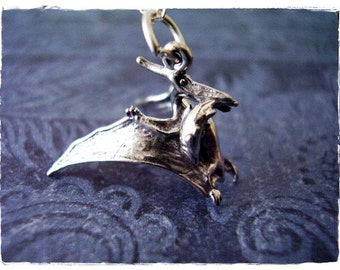 Silver Pterodactyl Necklace - Sterling Silver Pterodactyl Charm on a Delicate Sterling Silver Cable Chain or Charm Only