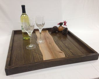 Reversible Rustic/Modern Large Ottoman Tray Wall Decor Serving Tray Free Shipping