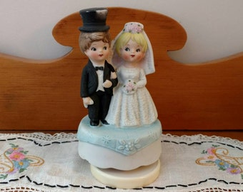 Vintage Music Box couple wedding gift cake topper bride and groom Collectible engagement gift Hand Crank Box anniversary gift bridal shower