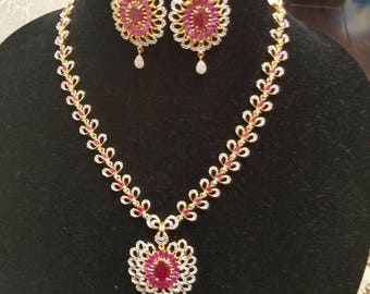 High quality ruby and cubic zirconia set