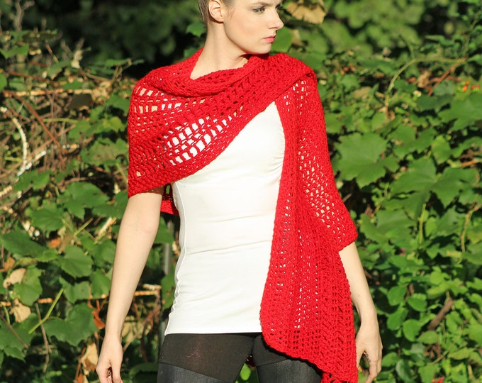 Red One Sleeved Crochet handmade Shawl Unique Asymmetrical Top Sweater Women chic jacket Christmas gift Ready to ship
