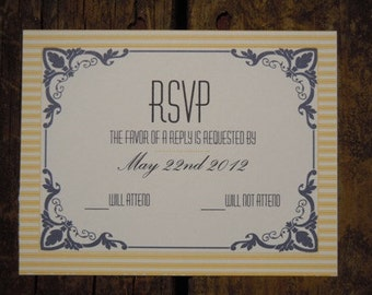 Navy and Buttercream Yellow Invitation Suite Sample
