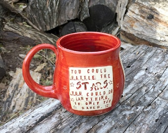 Throne of Glass Pottery Mug, You Could Rattle the Stars, Sarah J. Maas, Autumn Red, Stars -Handmade by Daisy Friesen