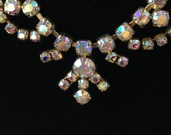 Vintage 1950s crystal necklace, aurora borealis choker diamanté