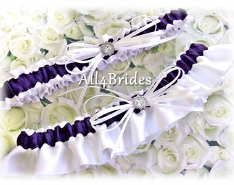 Lapis Wedding Bridal Garters, satin wedding garters, deep purple.