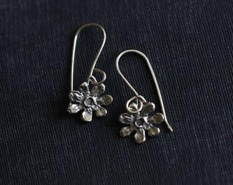 Flower Earrings, Petite, Dainty, Sterling Silver, Rustic, Dangle Earrings, Botanical, Drop Earrings, by Dezine Studio