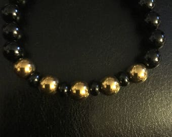 Black onyx and gold hematite natural stone bracelet