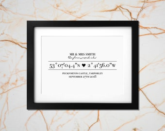 Your Wedding location coordinates - personalised