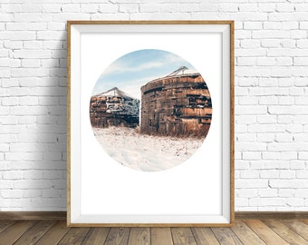 "nature photography, large art, large wall art, printable art, instant download printable art, art print, rustic wall art - ""Snowy Day Silos"""