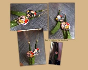 Earrings dangling flowers, pearls and silk Green/Gold Ribbon - Romatik -.