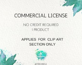 Commercial License No Credit required Downloadable . Applies for Clip Art Section  Only.