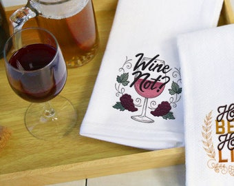 Hoppy Beer, Hoppy Life  Embroidered Flour Sack Hand/Dish Towel