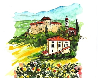 "Original Italian Landscape ART Painting Made to Order Original Watercolor Landscape ""TUSCANY"" Italy  Italian Landscape & Scenic"