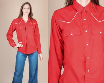 Vintage Pearl Snap Western Shirt - Medium // 80s Red White Long Sleeve Top