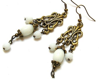 white chandelier earrings,  bronze and white, bronze earrings, white earrings, boho