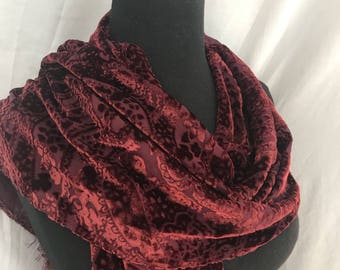 Hot Cinnamon Burnout Velvet//Fringe//Silk Scarf