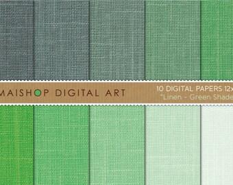 Digital Paper Linen 'Green Shades' Linen Texture Backgrounds for DIY Crafts, Decoupage, Invitations, Scrapbooking...