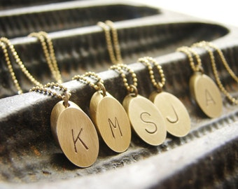 Geometric Initial Necklace, personalized necklace, Gold Bar Raw Brass Personalized jewelry, oval elliptic initial charm mothers day gift