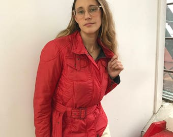 vintage red Barbour quilted puffer jacket / red down winter jacket