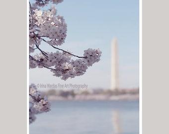 Cherry Blossom DC, Washington DC monument, Japanese Sakura tree branch art print pale blue pink wall decor, travel wall art, vertical photo