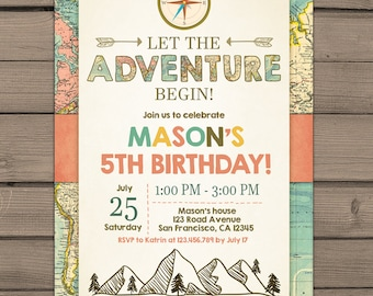 Let the Adventure Begin Birthday Invitation Adventure Birthday invitation Adventure invite Rustic Boy birthday Travel PRINTABLE ANY AGE ad