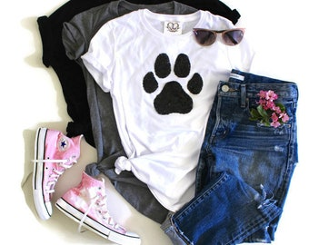 Sequin Patch Dog Lover Shirt. Dog Mom. Fur Mama. Dog Mom Mama Shirt. Gift for Pet Lover. Dog Lover. Cat Lover. Paws Shirt. Sequin Paw Shirt