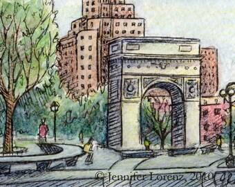 ACEO-Washington Square Park (Print)
