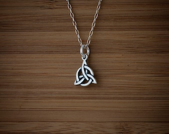 STERLING SILVER Triquetra Protection Knot Charm Necklace Earrings - Chain Optional