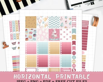 Horizontal Birthday printable planner stickers for Erin Condren LifePlannerTM cut files watercolor party balloon cake present wedding weekly