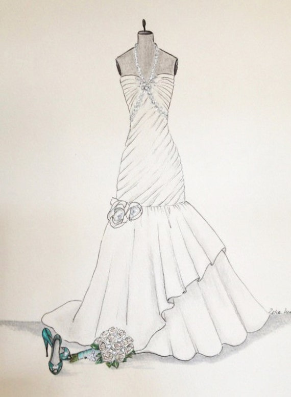 Custom wedding dress sketch wedding gown bouquet and shoes