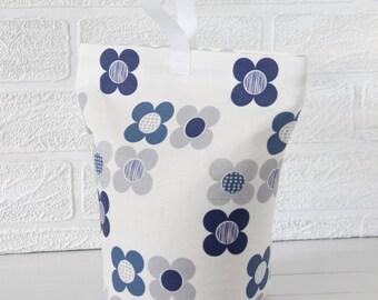 Indigo Blue Fabric Doorstop Mod Flower Fabric Door stop Doorstopper Floral Fabric Scandi Home