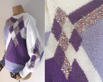 80's asymmetric knit jumper / 80's hand knit /discounted by 5 pounds