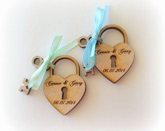 70 Heart and skeleton Key Wedding Favors custom personalized