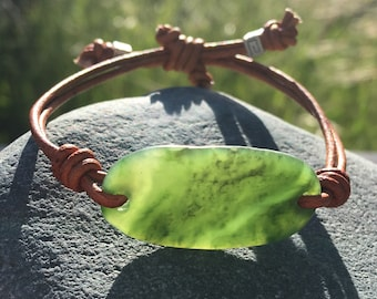 British Columbia Jade and Leather Bracelet, (Child size or small wrist)