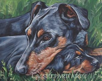 "GERMAN PINSCHER dog portrait art canvas print of LA Shepard painting 11x14"" mom and puppy"